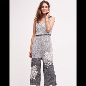 Anthropologie Rana Gill lotus embroidered jumpsuit